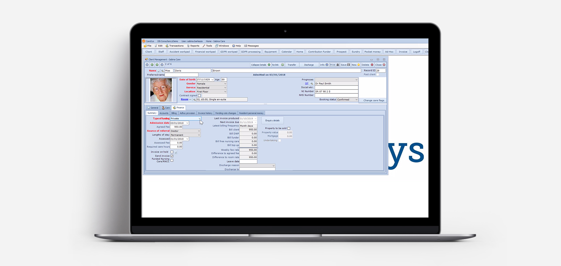 Caresys Desktop View